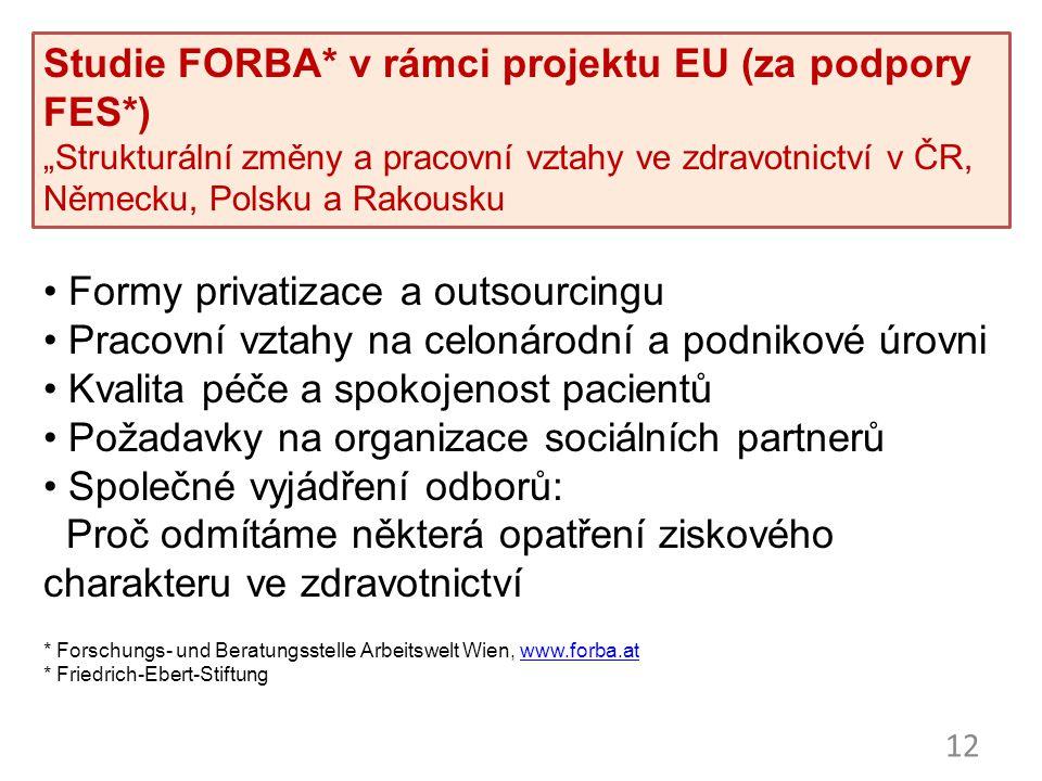"""12 Studie FORBA* v rámci projektu EU (za podpory FES*) """"Strukturální změny a pracovní vztahy ve zdravotnictví v ČR, Německu, Polsku a Rakousku Formy p"""