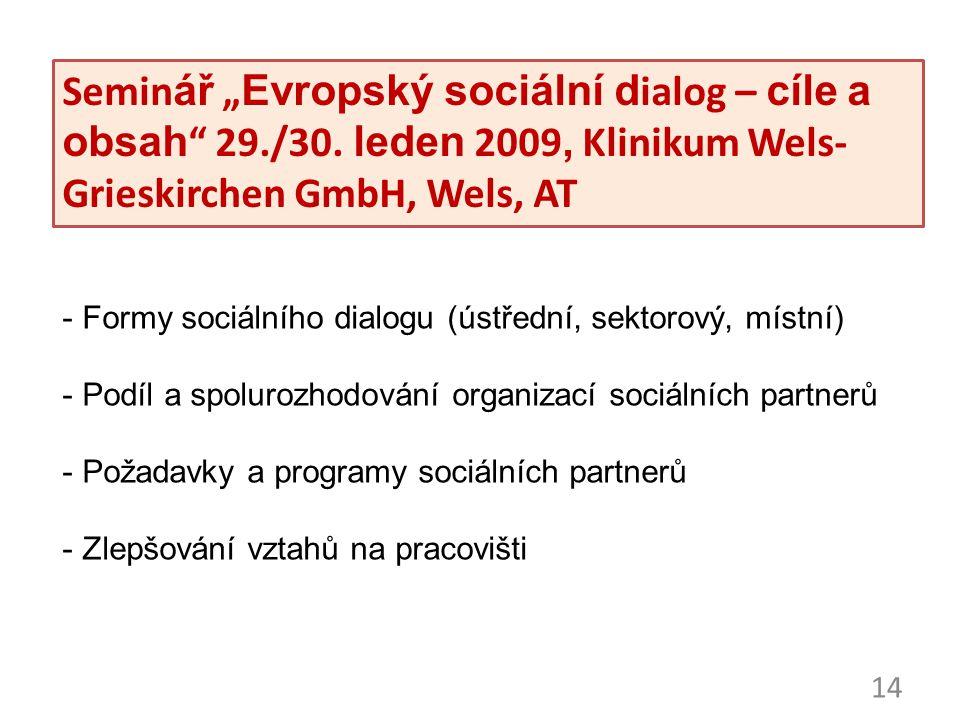 """14 Seminář """"Evropský sociální dialog – cíle a obsah"""" 29./30. leden 2009, Klinikum Wels- Grieskirchen GmbH, Wels, AT - Formy sociálního dialogu (ústřed"""