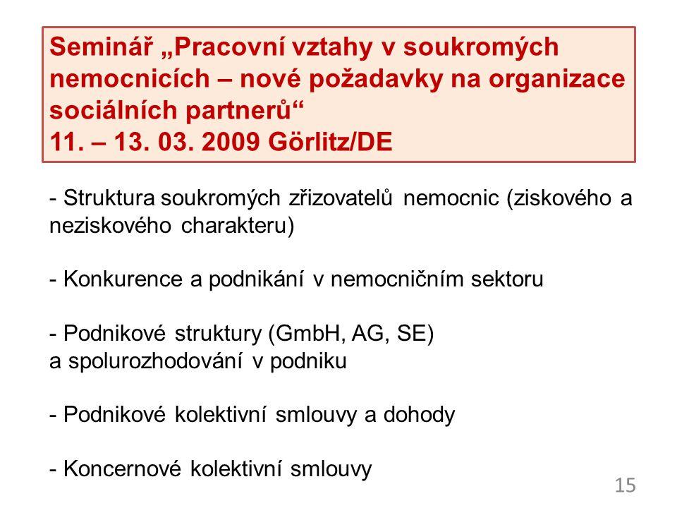 """15 Seminář """"Pracovní vztahy v soukromých nemocnicích – nové požadavky na organizace sociálních partnerů"""" 11. – 13. 03. 2009 Görlitz/DE - Struktura sou"""