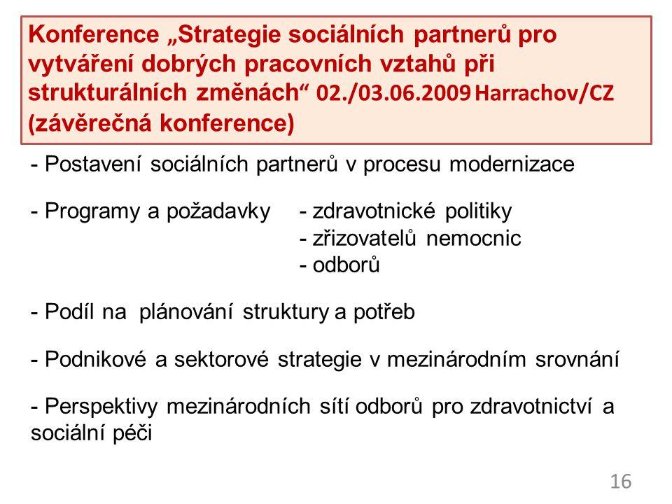 """16 Konference """"Strategie sociálních partnerů pro vytváření dobrých pracovních vztahů při strukturálních změnách"""" 02./03.06.2009 Harrachov/CZ (závěrečn"""