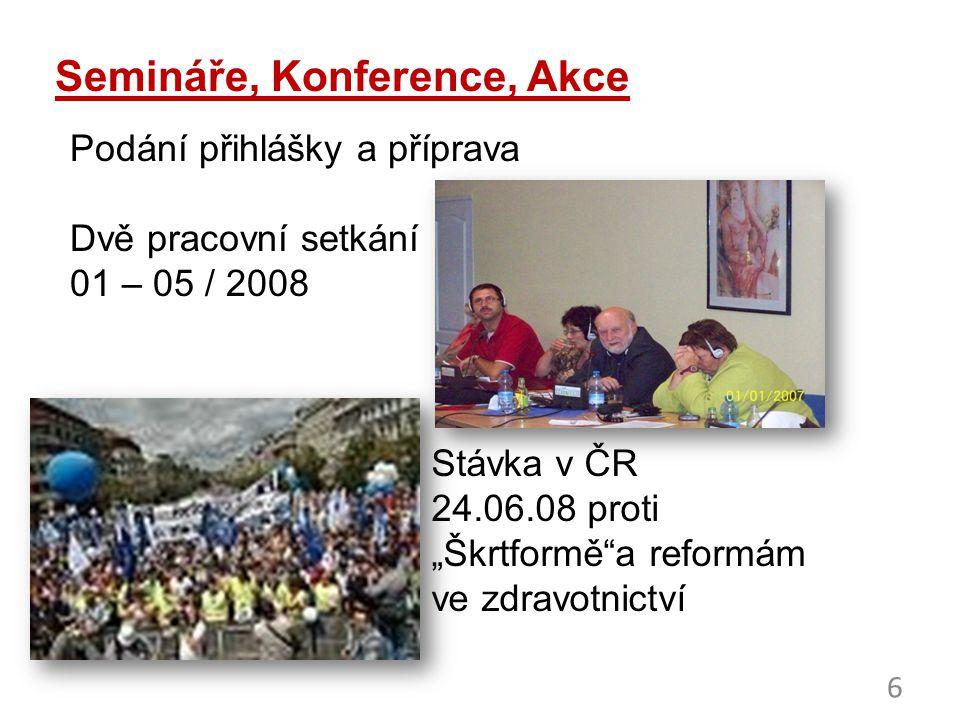 7 Kampaň v Polsku: Za důstojnou práci 40.000 účastníků – 29.08.08 ve Varšavě - Vyšší platy - Lepší pracovní podmínky - Sociální jistoty - Proti privatizaci nemocnic