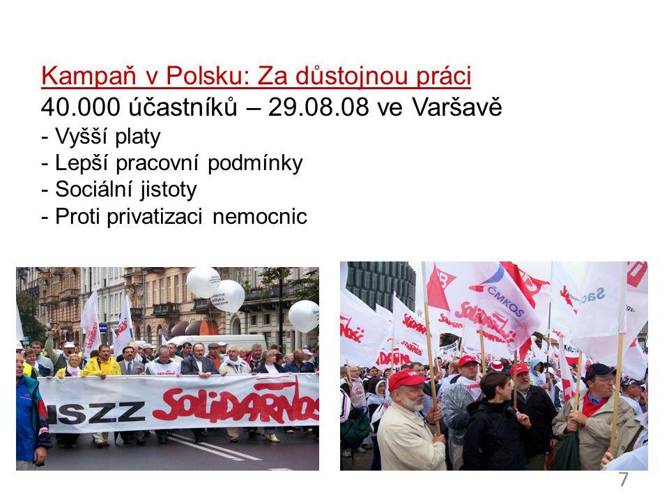 7 Kampaň v Polsku: Za důstojnou práci 40.000 účastníků – 29.08.08 ve Varšavě - Vyšší platy - Lepší pracovní podmínky - Sociální jistoty - Proti privat