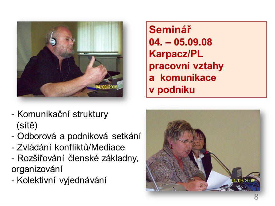 8 - Komunikační struktury (sítě) - Odborová a podniková setkání - Zvládání konfliktů/Mediace - Rozšiřování členské základny, organizování - Kolektivní