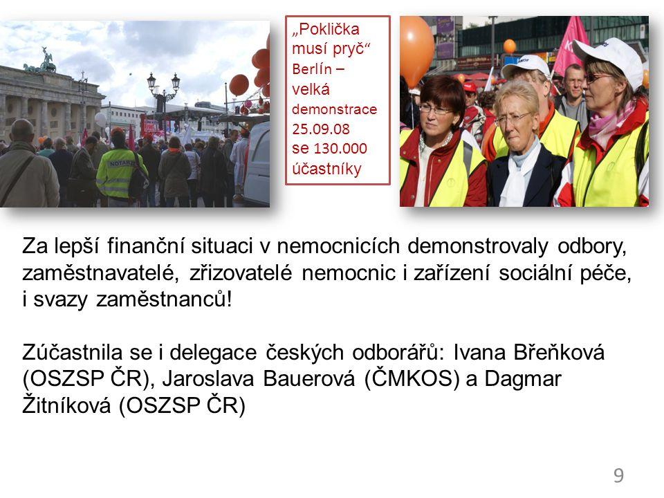 """9 """"Poklička musí pryč"""" Berlín – velká demonstrace 25.09.08 se 130.000 účastníky Za lepší finanční situaci v nemocnicích demonstrovaly odbory, zaměstna"""