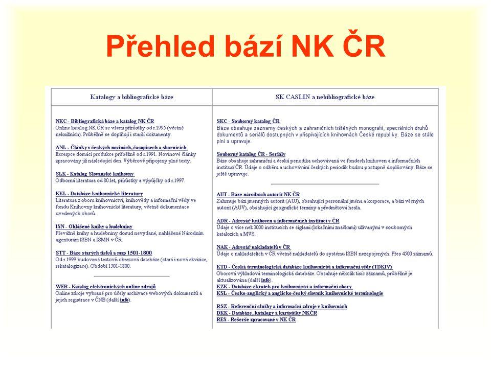 Přehled bází NK ČR