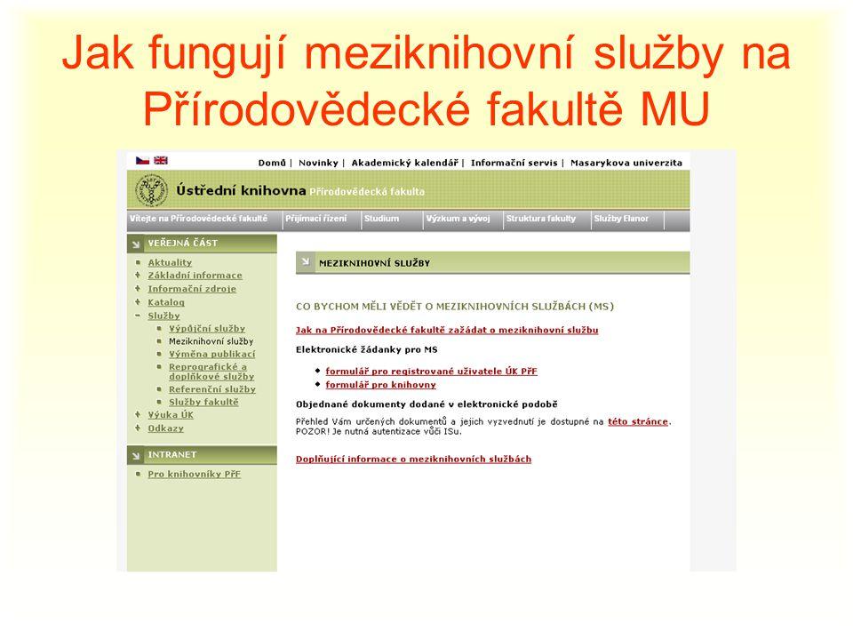 Jak fungují meziknihovní služby na Přírodovědecké fakultě MU