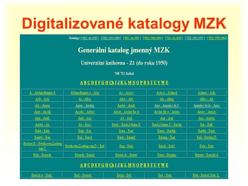 Digitalizované katalogy MZK