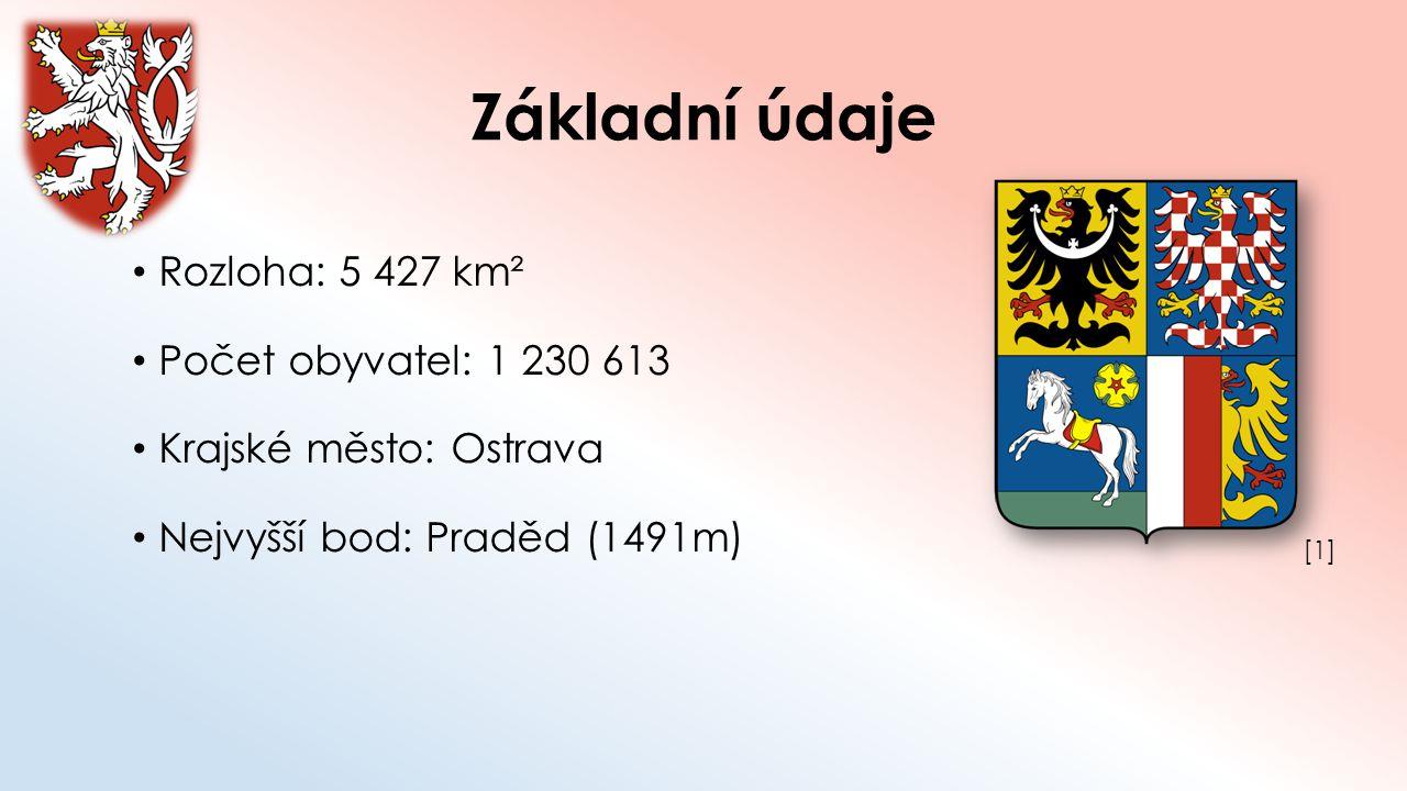 Základní údaje Rozloha: 5 427 km² Počet obyvatel: 1 230 613 Krajské město: Ostrava Nejvyšší bod: Praděd (1491m) [1][1]