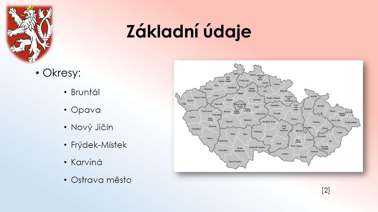 Základní údaje Okresy: Bruntál Opava Nový Jičín Frýdek-Místek Karviná Ostrava město [2][2]