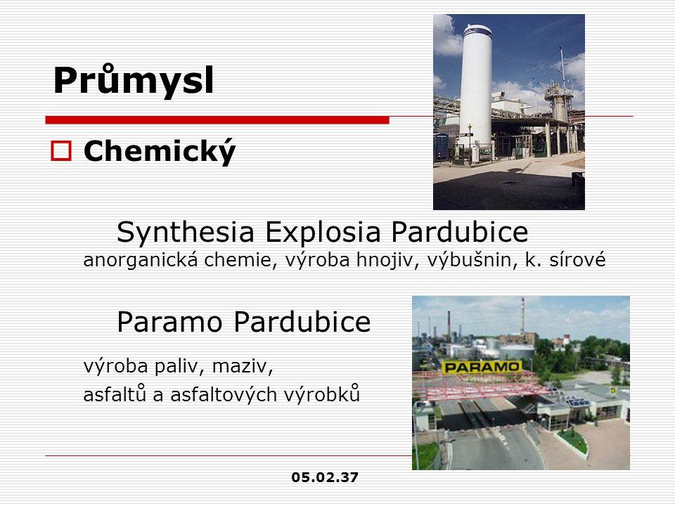 Průmysl  Chemický Synthesia Explosia Pardubice anorganická chemie, výroba hnojiv, výbušnin, k. sírové Paramo Pardubice výroba paliv, maziv, asfaltů a