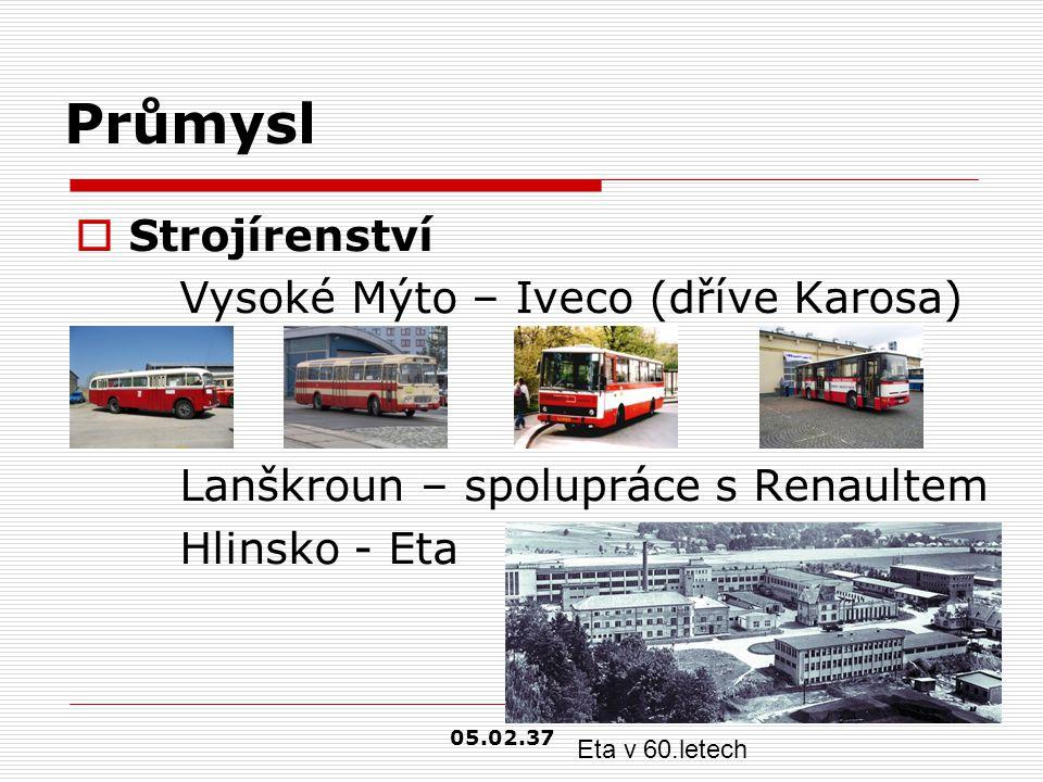 Průmysl  Strojírenství Vysoké Mýto – Iveco (dříve Karosa) Lanškroun – spolupráce s Renaultem Hlinsko - Eta Eta v 60.letech 05.02.37