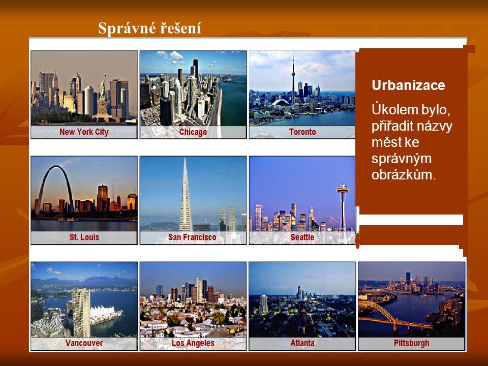 Správné řešení Urbanizace Úkolem bylo, přiřadit názvy měst ke správným obrázkům.