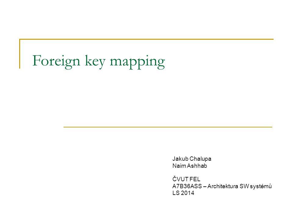 Foreign key mapping – úvod Problém  objekty jsou mezi sebou provázány referencemi  objekt může udržovat kolekci referencí Příklad: skladby na albu  skladba byla vydána právě na jednom albu  album obsahuje více skladeb Jak na to.