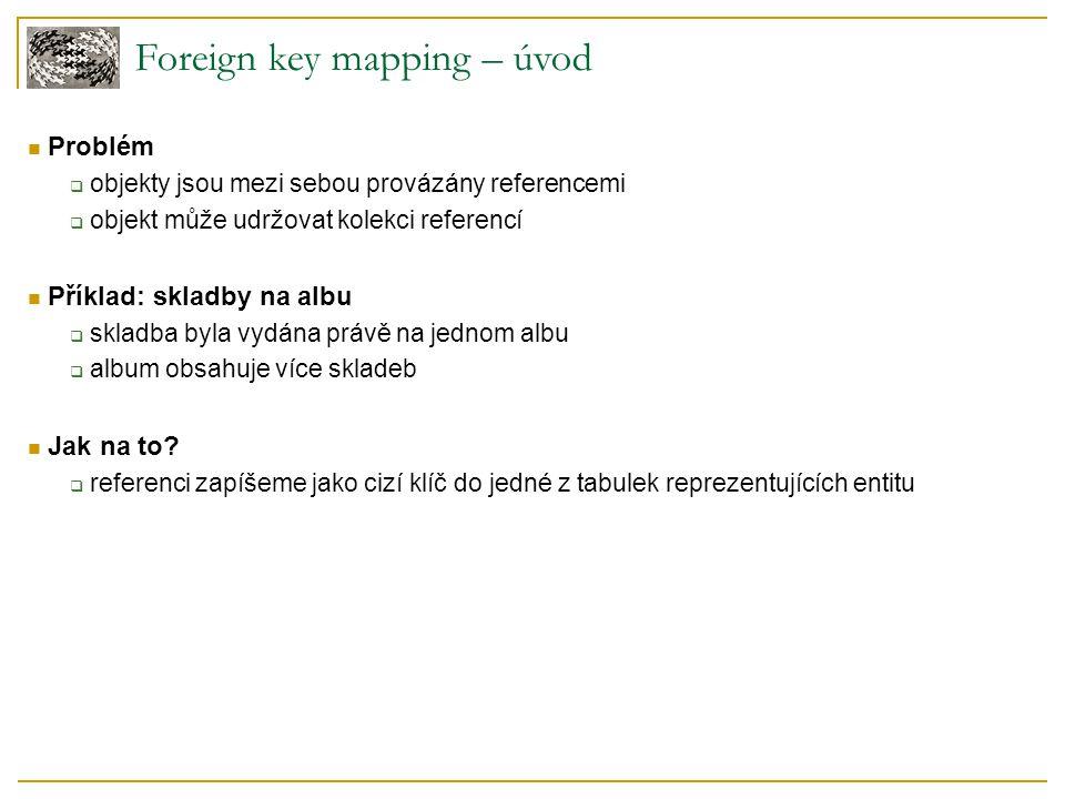 Foreign key mapping – schéma Transformace relací mezi objekty do relační databáze  album vlastní kolekci skladeb  v databázi otočíme směr reference – skladba náleží jednomu albu
