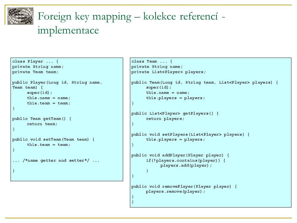 Foreign key mapping – zmeny v referencích Problémy  co se stane při smazání hráče z kolekce.