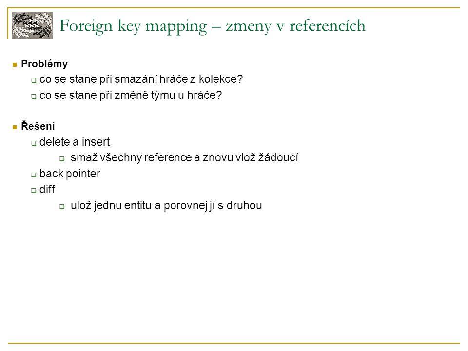 Foreign key mapping – zmeny v referencích Problémy  co se stane při smazání hráče z kolekce?  co se stane při změně týmu u hráče? Řešení  delete a