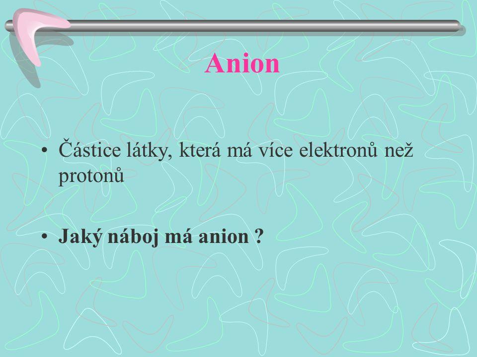 Anion Částice látky, která má více elektronů než protonů Jaký náboj má anion
