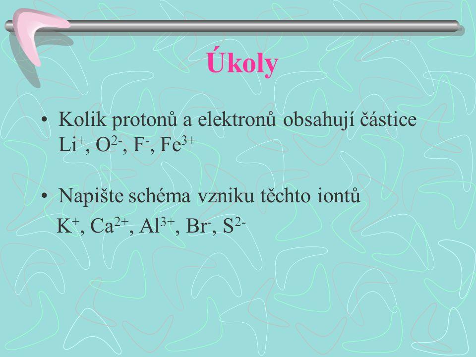 Úkoly Kolik protonů a elektronů obsahují částice Li +, O 2-, F -, Fe 3+ Napište schéma vzniku těchto iontů K +, Ca 2+, Al 3+, Br -, S 2-