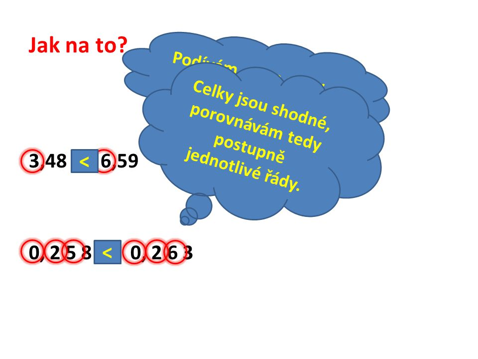 Jak na to? 3,48 6,59 0, 2 5 8 0, 2 6 3 Podívám se na celky a porovnám je! < Celky jsou shodné, porovnávám tedy postupně jednotlivé řády. <