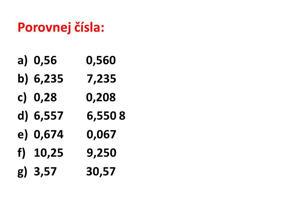 Porovnej čísla - řešení: a)0,56 = 0,560 b)6,235 < 7,235 c)0,28 > 0,208 d)6,557 > 6,550 8 e)0,674 > 0,067 f)10,25 > 9,250 g)3,57 < 30,57