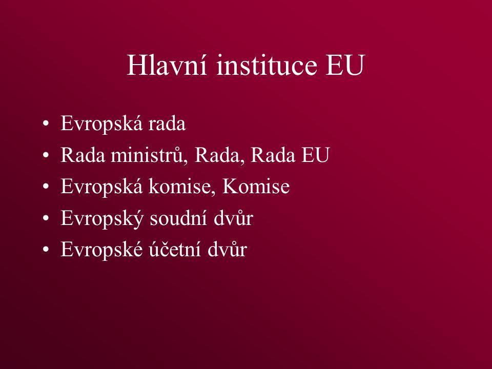 Hlavní instituce EU Evropská rada Rada ministrů, Rada, Rada EU Evropská komise, Komise Evropský soudní dvůr Evropské účetní dvůr