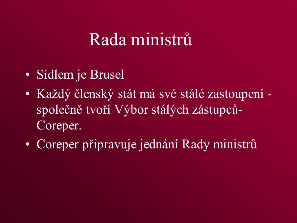 Rada ministrů Sídlem je Brusel Každý členský stát má své stálé zastoupení - společně tvoří Výbor stálých zástupců- Coreper.