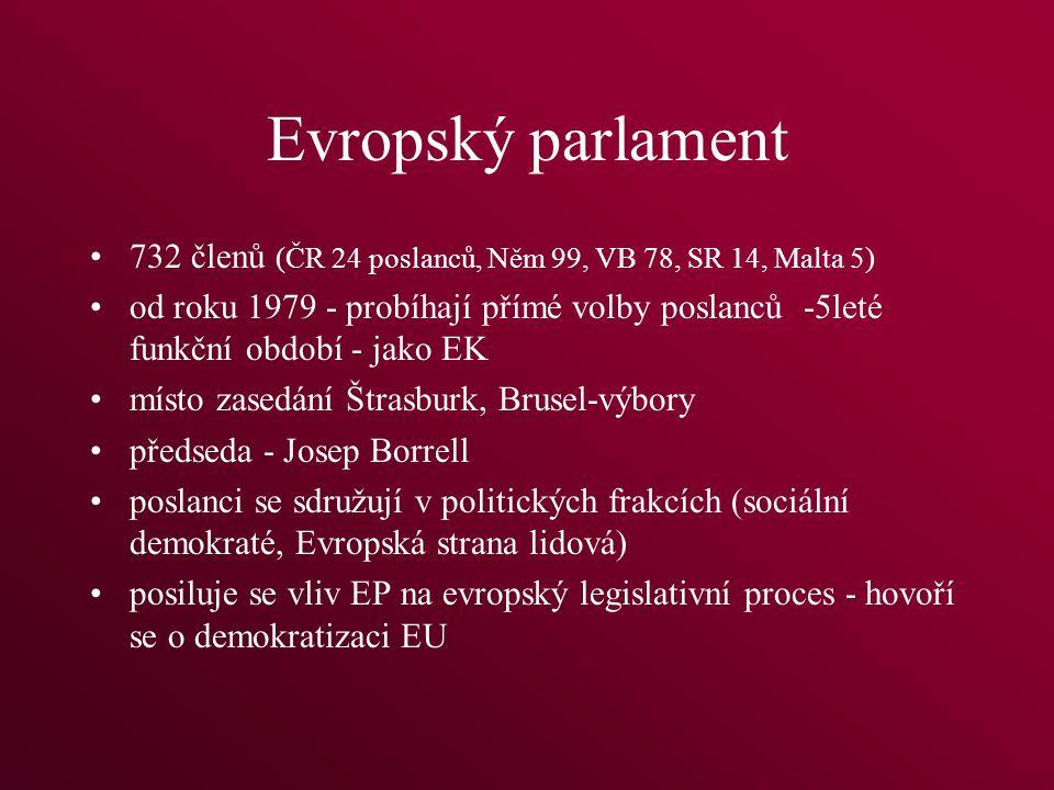 Evropský parlament 732 členů (ČR 24 poslanců, Něm 99, VB 78, SR 14, Malta 5) od roku 1979 - probíhají přímé volby poslanců -5leté funkční období - jako EK místo zasedání Štrasburk, Brusel-výbory předseda - Josep Borrell poslanci se sdružují v politických frakcích (sociální demokraté, Evropská strana lidová) posiluje se vliv EP na evropský legislativní proces - hovoří se o demokratizaci EU