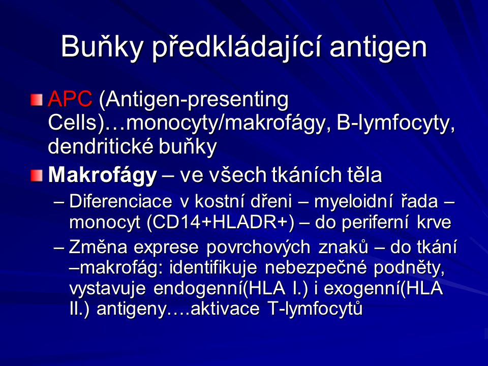 Buňky předkládající antigen APC (Antigen-presenting Cells)…monocyty/makrofágy, B-lymfocyty, dendritické buňky Makrofágy – ve všech tkáních těla –Diferenciace v kostní dřeni – myeloidní řada – monocyt (CD14+HLADR+) – do periferní krve –Změna exprese povrchových znaků – do tkání –makrofág: identifikuje nebezpečné podněty, vystavuje endogenní(HLA I.) i exogenní(HLA II.) antigeny….aktivace T-lymfocytů