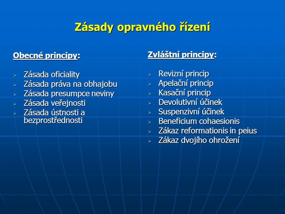 Zásady opravného řízení Obecné principy:  Zásada oficiality  Zásada práva na obhajobu  Zásada presumpce neviny  Zásada veřejnosti  Zásada ústnost