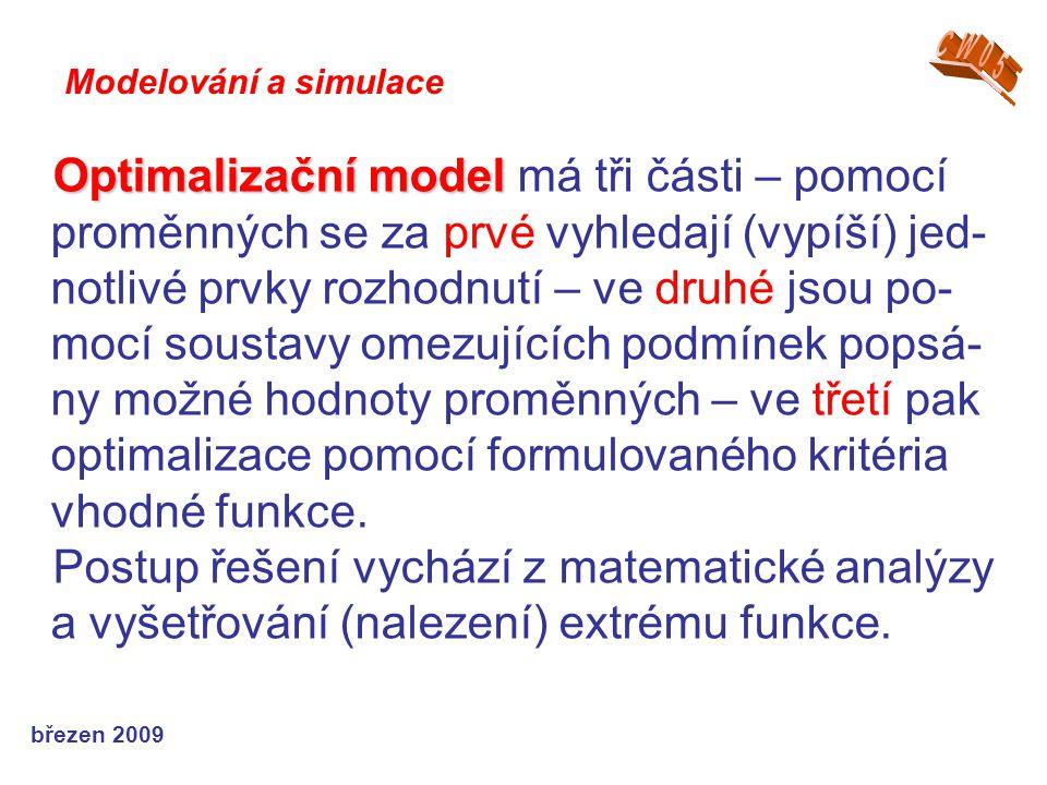 březen 2009 Optimalizační model Optimalizační model má tři části – pomocí proměnných se za prvé vyhledají (vypíší) jed- notlivé prvky rozhodnutí – ve druhé jsou po- mocí soustavy omezujících podmínek popsá- ny možné hodnoty proměnných – ve třetí pak optimalizace pomocí formulovaného kritéria vhodné funkce.