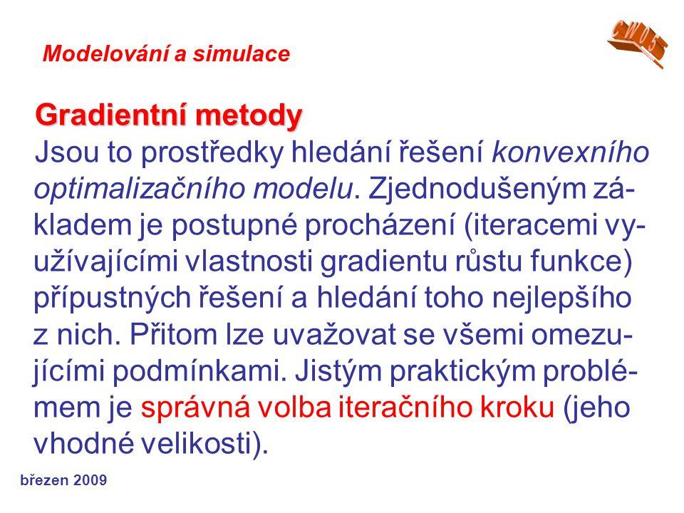 březen 2009 Gradientní metody Jsou to prostředky hledání řešení konvexního optimalizačního modelu.