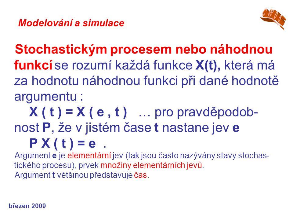 březen 2009 Stochastickým procesem nebo náhodnou funkcí se rozumí každá funkce X(t), která má za hodnotu náhodnou funkci při dané hodnotě argumentu : X ( t ) = X ( e, t ) … pro pravděpodob- nost P, že v jistém čase t nastane jev e P X ( t ) = e.