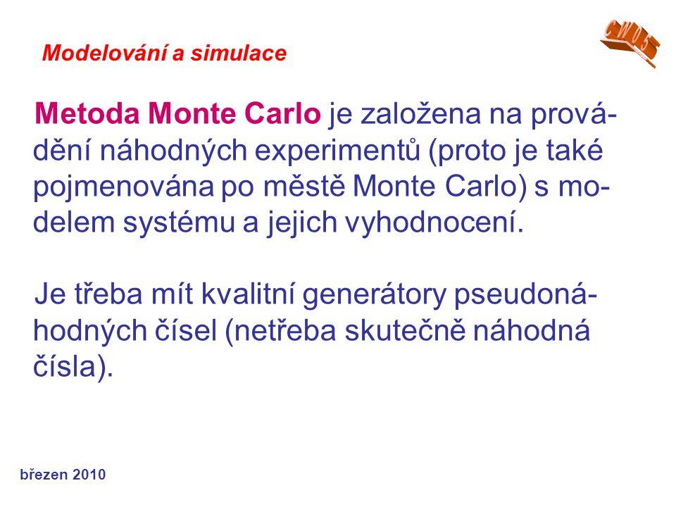 březen 2010 Metoda Monte Carlo je založena na prová- dění náhodných experimentů (proto je také pojmenována po městě Monte Carlo) s mo- delem systému a jejich vyhodnocení.