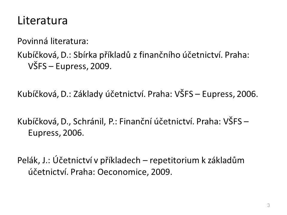 Literatura Povinná literatura: Kubíčková, D.: Sbírka příkladů z finančního účetnictví. Praha: VŠFS – Eupress, 2009. Kubíčková, D.: Základy účetnictví.