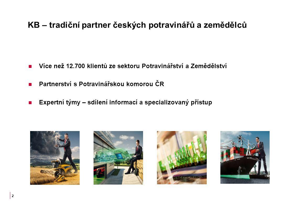 KB – tradiční partner českých potravinářů a zemědělců Více než 12.700 klientů ze sektoru Potravinářství a Zemědělství Partnerství s Potravinářskou kom