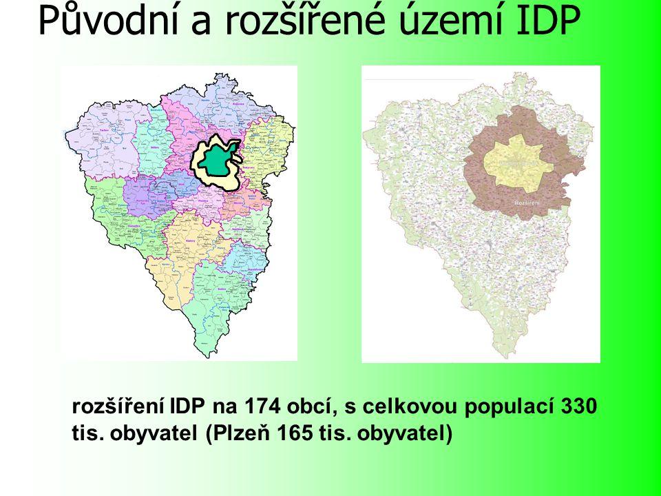Původní a rozšířené území IDP rozšíření IDP na 174 obcí, s celkovou populací 330 tis.