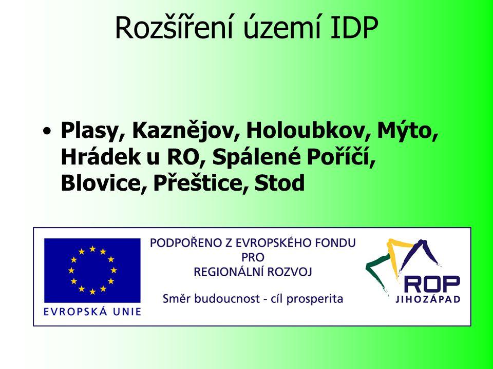 Rozšíření území IDP Plasy, Kaznějov, Holoubkov, Mýto, Hrádek u RO, Spálené Poříčí, Blovice, Přeštice, Stod