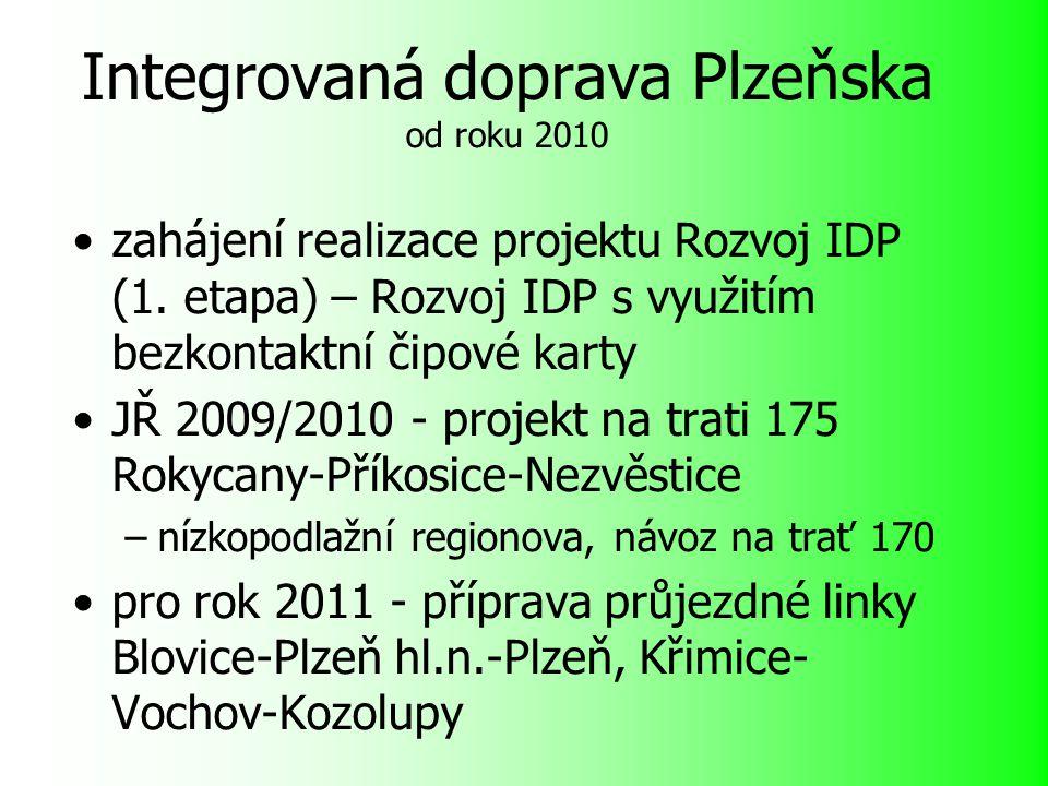Integrovaná doprava Plzeňska od roku 2010 zahájení realizace projektu Rozvoj IDP (1.