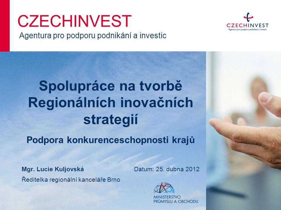 Spolupráce na tvorbě Regionálních inovačních strategií Podpora konkurenceschopnosti krajů CZECHINVEST Agentura pro podporu podnikání a investic Mgr.