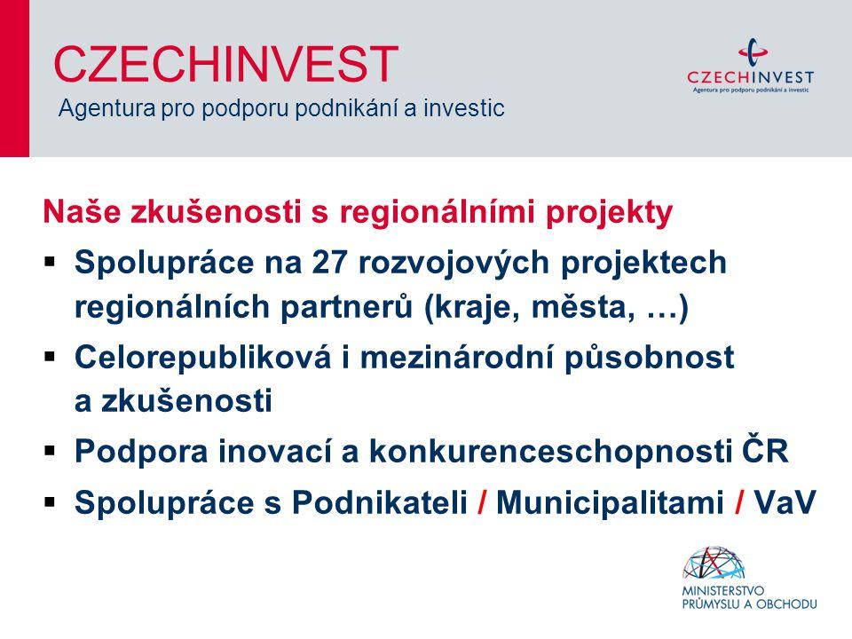 Naše zkušenosti s regionálními projekty  Spolupráce na 27 rozvojových projektech regionálních partnerů (kraje, města, …)  Celorepubliková i mezinárodní působnost a zkušenosti  Podpora inovací a konkurenceschopnosti ČR  Spolupráce s Podnikateli / Municipalitami / VaV CZECHINVEST Agentura pro podporu podnikání a investic