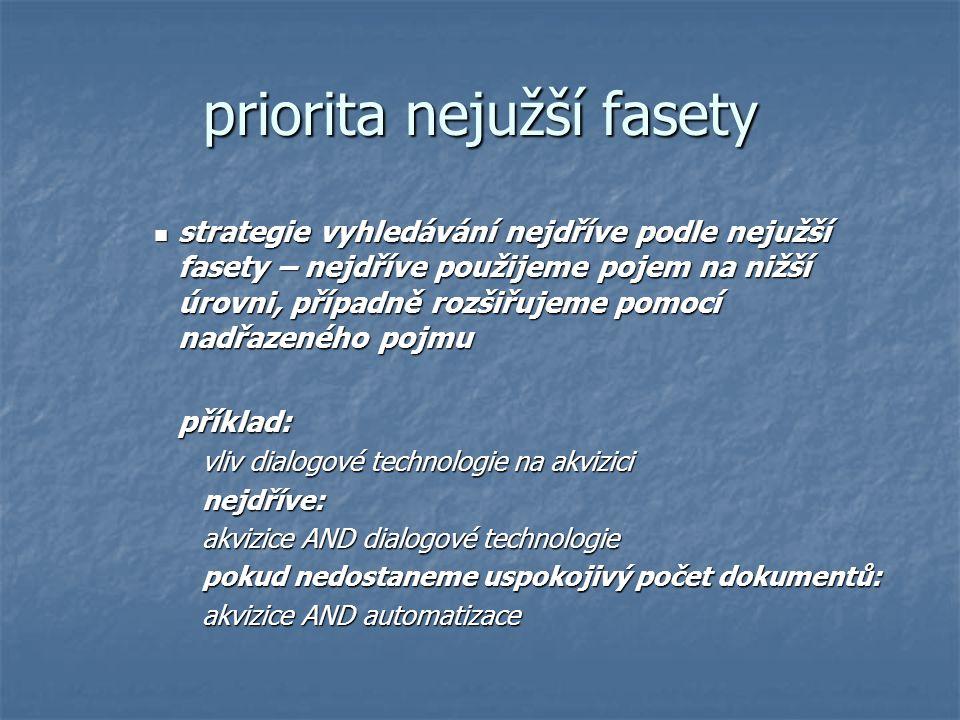 priorita nejužší fasety strategie vyhledávání nejdříve podle nejužší fasety – nejdříve použijeme pojem na nižší úrovni, případně rozšiřujeme pomocí na