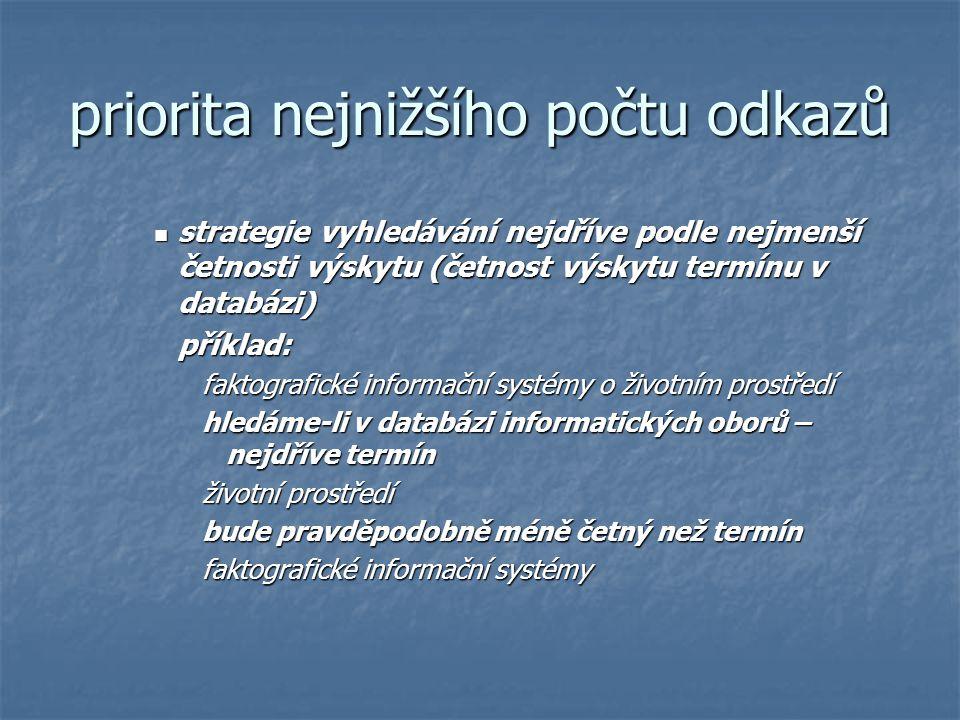 priorita nejnižšího počtu odkazů strategie vyhledávání nejdříve podle nejmenší četnosti výskytu (četnost výskytu termínu v databázi) strategie vyhledá