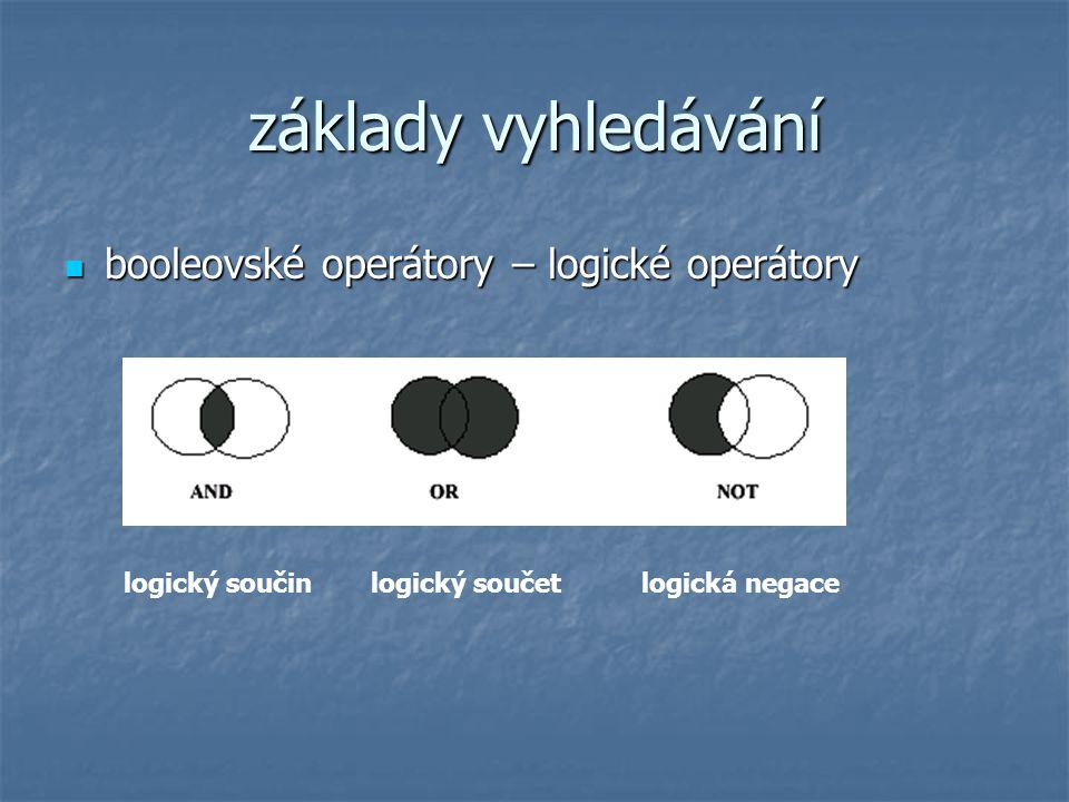 základy vyhledávání booleovské operátory – logické operátory booleovské operátory – logické operátory logický součin logický součetlogická negace