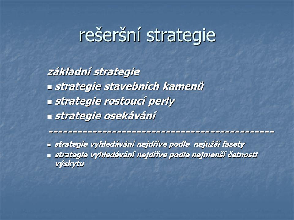 rešeršní strategie základní strategie strategie stavebních kamenů strategie stavebních kamenů strategie rostoucí perly strategie rostoucí perly strate