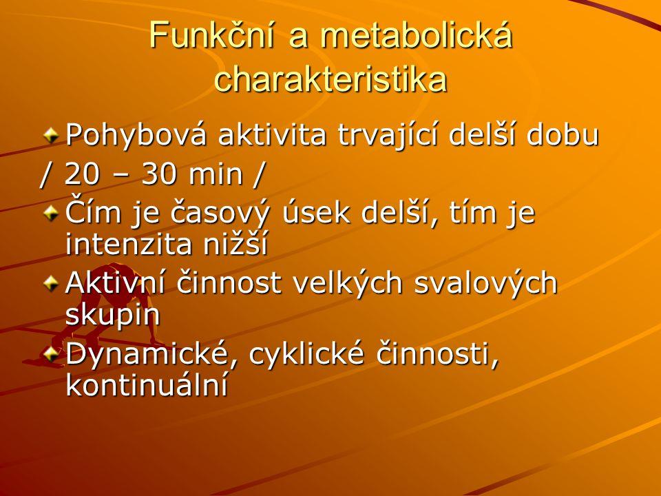 Morfofunkční charakteristika Střední štíhlé postavy s nízkou tělesnou hmotností a nízkým % tuku/ vytrvalci / Středně vysoká postava s poměrně dlouhými končetinami, málo % tuku, menší muskulatura / chodci / Hypertrofie svalů DKK, štíhlá postava, nízká hmotnost / ektomorfní mezomorf / silniční cyklistika Různý somatotyp/ rozdíl mezi nimi až 30 kg / – běžecké lyžování Plavání / vyšší podíl tuku /