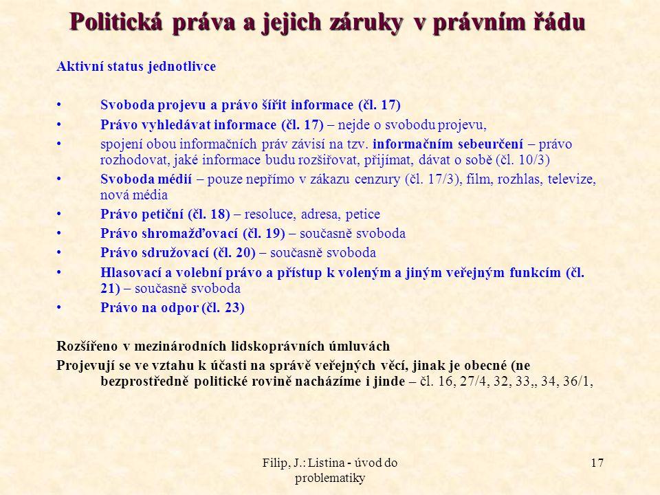 Filip, J.: Listina - úvod do problematiky 17 Politická práva a jejich záruky v právním řádu Politická práva a jejich záruky v právním řádu Aktivní sta
