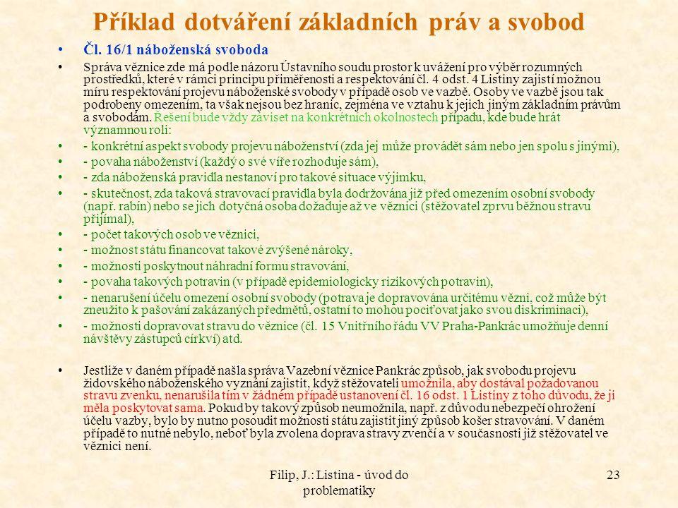 Filip, J.: Listina - úvod do problematiky 23 Příklad dotváření základních práv a svobod Čl. 16/1 náboženská svoboda Správa věznice zde má podle názoru