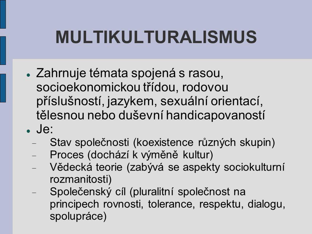 MULTIKULTURALISMUS Zahrnuje témata spojená s rasou, socioekonomickou třídou, rodovou příslušností, jazykem, sexuální orientací, tělesnou nebo duševní