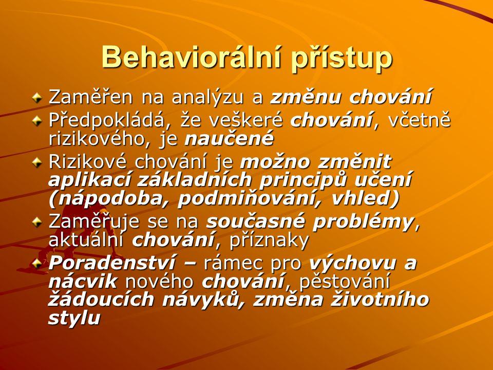 Behaviorální přístup Zaměřen na analýzu a změnu chování Předpokládá, že veškeré chování, včetně rizikového, je naučené Rizikové chování je možno změni