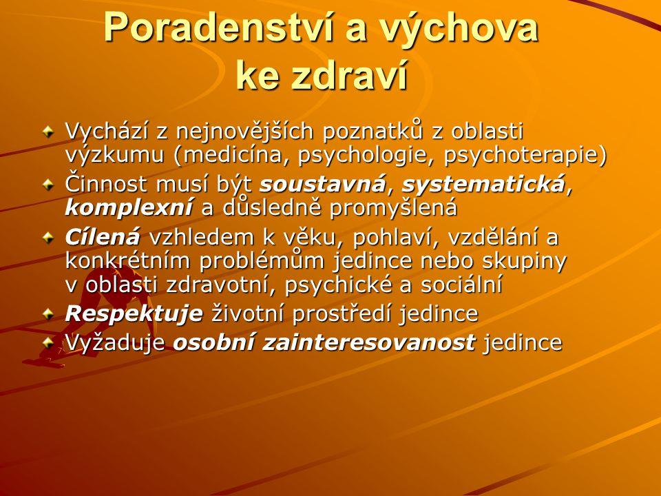 Poradenství a výchova ke zdraví Vychází z nejnovějších poznatků z oblasti výzkumu (medicína, psychologie, psychoterapie) Činnost musí být soustavná, s